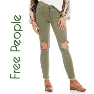 Free People Moss Busted Knee Skinny Jeans NWT